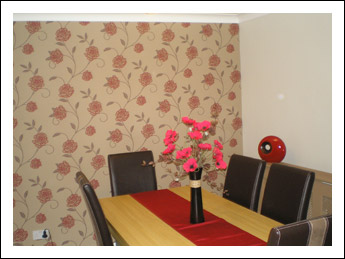 Dining area decorated by JP Martin Painting & Decorating Services